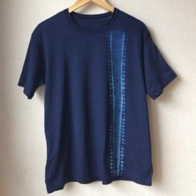 天然藍染 男性用Tシャツ半袖 L 綿