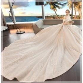 ウェディングドレス 森ガール系 セクシー 結婚式 花嫁 豪華ドレス お姫系 超人気 ブライダル ロングドレス 2019新品 シンプル WS-534