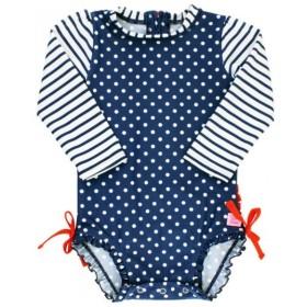 Ruffle Butts ラッフルバッツ ワンピース ラッシュガード Navy Polka Dot 18ヶ月〜24ヶ月 女の子 UPF50+/水着/紫外線対策/ベビー水着/キッズ水着