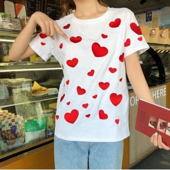 Tシャツ - luby 春夏新作 Tシャツ トップス カットソー ハートプリント ブラック ホワイト 韓国ファッション