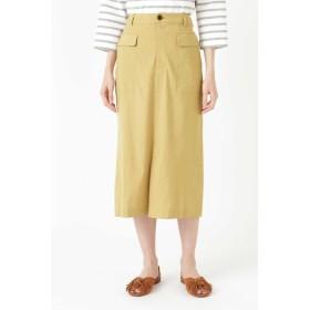 HUMAN WOMAN 麻ストレッチタイトスカート ひざ丈スカート,ベージュ