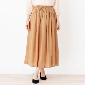 [マルイ] <コットン100>ウエストリボン ギャザースカート/ピンクアドベ(pink adobe)