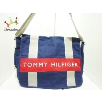 トミーヒルフィガー TOMMY HILFIGER ショルダーバッグ ネイビー×グレー×マルチ キャンバス 値下げ 20190830
