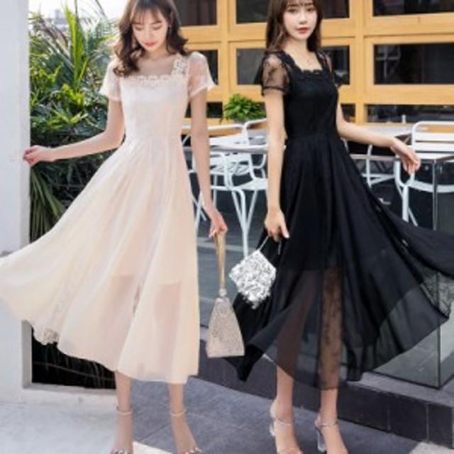 パーティー ドレス ワンピース シフォン レース 半袖 ミモレ丈 スクエアネック 結婚式 韓国 mme6016