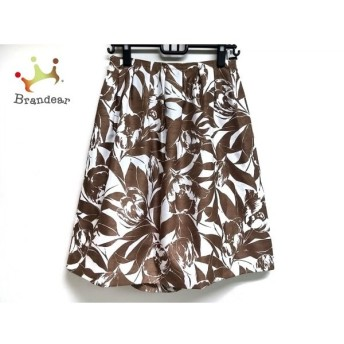 ランバンコレクション スカート サイズ40 M レディース ダークブラウン×アイボリー スペシャル特価 20190905