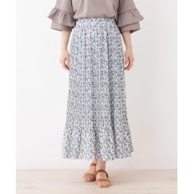 3can4on(Ladies)(サンカンシオン(レディース)) 【洗える】プリーツフラワーロングスカート