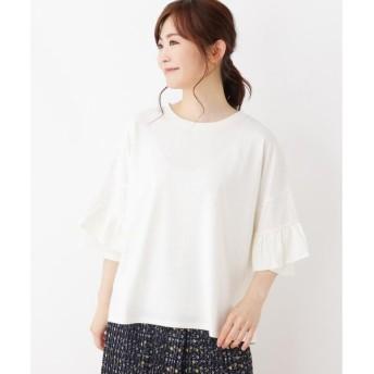 3can4on / サンカンシオン 【洗える】袖フリルビッグTシャツ