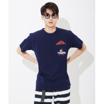 DISNEY サーフポケットプリントTシャツ(ミッキー) メンズ ネイビー