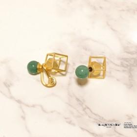 Cube catch pierce Gold×aventurine (片耳販売)