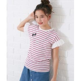 袖フリルボーダーTシャツ Tシャツ・カットソー