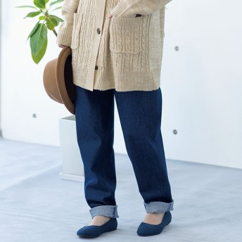 ベルーナ ゆるテーパードデニムパンツ インディゴ M レディースフルレングスパンツ 春 夏 パンツ ズボン レディースファッション アパレル 通販 大きいサイズ コーデ 安い おしゃれ お洒落 30代 40代 50代 女性