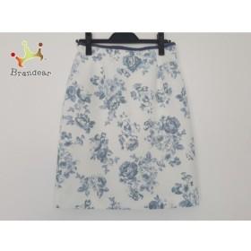 アプワイザーリッシェ スカート サイズ2 M レディース 美品 白×ライトブルー×マルチ 花柄   スペシャル特価 20190917