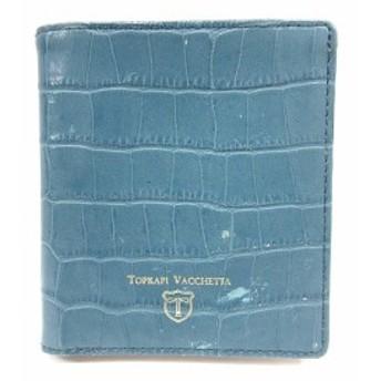 【中古】トプカピ TOPKAPI 財布 二つ折り レザー 型押し ロゴ 青 ブルー /SR24 レディース