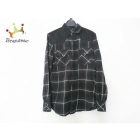 ディーゼル 長袖シャツ サイズXS メンズ 黒×白×グレー チェック柄/コーデュロイ切り替え   スペシャル特価 20190828