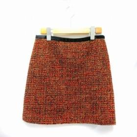 ラピスルーチェパービームス LAPIS LUCE PER BEAMS スカート 台形 ひざ丈 ツイード ラメ ウール混 ナイロン混 レーヨン混 ストレッチ 38