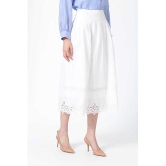 NATURAL BEAUTY [ウォッシャブル]レースエッジロングスカート ひざ丈スカート,ホワイト