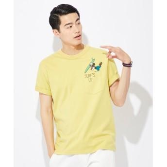 DISNEY サーフポケットプリントTシャツ(ミッキー) メンズ イエロー