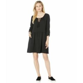 モッドドック レディース ワンピース トップス Slub Notch Neck Shirred Sleeve Dress Black