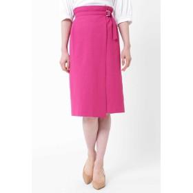 NATURAL BEAUTY 麻混アシンメトリーラップスカート ひざ丈スカート,ピンク