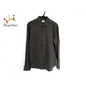 ラコステ Lacoste 長袖シャツ サイズ4 XL メンズ ダークグレー×白 ドット柄   スペシャル特価 20190903