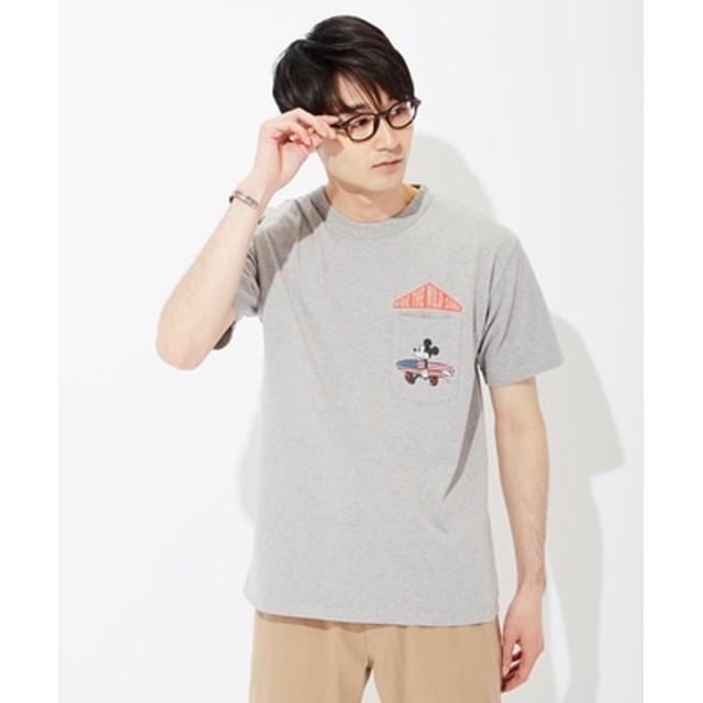DISNEY サーフポケットプリントTシャツ(ミッキー) メンズ グレー
