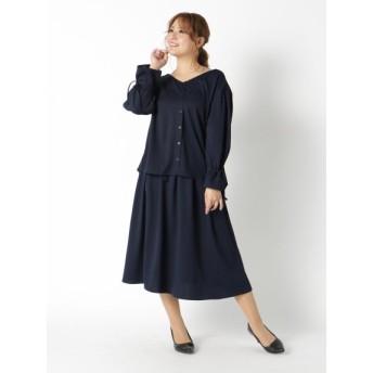 【大きいサイズレディース】【L-3L】【セット商品】ブラウス×ベルト付スカート ワンピース その他ワンピース