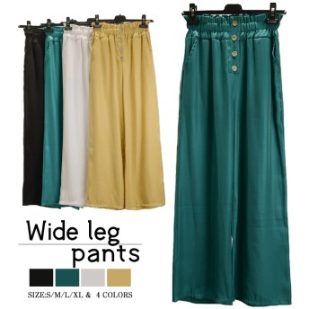 2019新作!パンツ レディース 春 夏 ガウチョパンツ ボトムス プリーツワイドパンツ ズボン ナチュラル 体型カバー ゆったり 楽ちん 着瘦せ 爽やかを極めた
