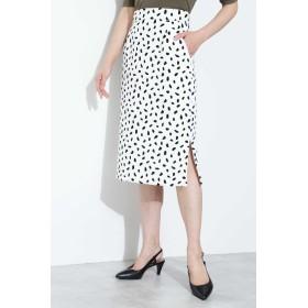 BOSCH アニマルプリントタイトスカート ひざ丈スカート,ホワイト地×ブラック 1