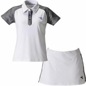 ディアドラ(diadora) レディース テニスウェア ゲームシャツ&スコート 上下セット ホワイト/ホワイト DTG9345 90/DTG9444 90 【練習