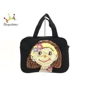 カーリーコレクション ハンドバッグ 美品 黒×ダークブラウン×マルチ 女の子/ビーズ   スペシャル特価 20190831