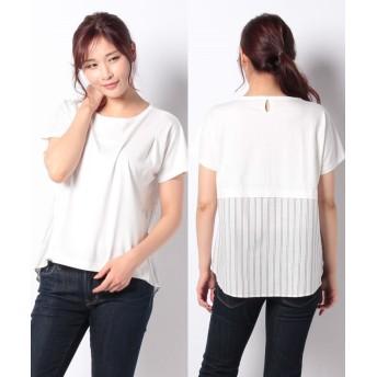 コムサイズム ストライプ デザインTシャツ(ONIGIRI) レディース ホワイト L 【COMME CA ISM】