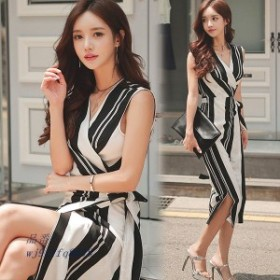 ワンピース レディース オシャレ ストライプ 結婚式 韓国風 上品 ドレス Vネック 不規則 膝丈 着痩せ 夏 ドレス 40代 切り替え