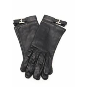 エルメス HERMES 手袋 グローブ 黒 小物 ラムスキン Hロゴ レディース