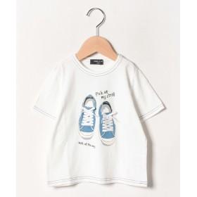 コムサイズム スニーカープリント 半袖Tシャツ レディース ホワイト 140cm 【COMME CA ISM】