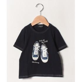 コムサイズム スニーカープリント 半袖Tシャツ レディース ネイビー 100cm 【COMME CA ISM】