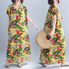 ワンピース レディース お得 半袖 花柄 Vネック ワンピース マキシ ロング 大きいサイズ 大人カジュアル 40代 ファッション 50代