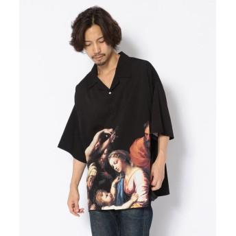 エルエイチピー Clut/クルト/ビッグサイズプリントオープンカラーシャツ メンズ BLACK F 【LHP】