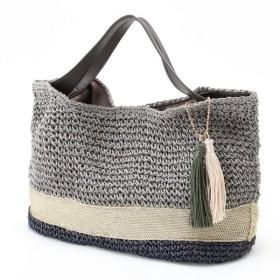 バッグ カバン 鞄 かごバッグ タッセル付ペーパーカゴバッグ カラー 「グレー」
