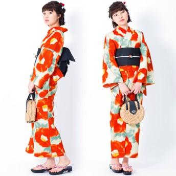 浴衣 - KIMONOMACHI KIMONOMACHI オリジナル 浴衣 レディース ポリエステル浴衣 女性浴衣 ゆかた 「クリーム 水彩椿」吸水速乾CoolPass