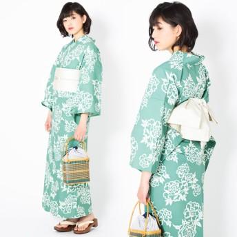 浴衣 - KIMONOMACHI KIMONOMACHI オリジナル 浴衣 レディース ポリエステル浴衣 女性浴衣 ゆかた 「青磁色 牡丹」 吸水速乾 CoolPass