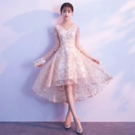送料無料 ミニワンピース ドレス フィッシュテール デザインレースVネック バックコンシャス フレア 大きいサイズ 春夏 七分袖 きれいめ