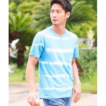 【29%OFF】 シルバーバレット VICCIタイダイ染めクルーネック半袖Tシャツ メンズ ブルー 44(M) 【SILVER BULLET】 【セール開催中】