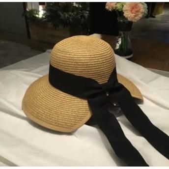 柔らかいので折り畳みも可能 ロングリボン ストローハット ハット 帽子