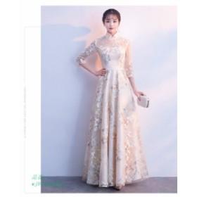 パーティードレス 結婚式 ドレス 大人 袖あり ピアノ 演奏会 お呼ばれドレス ドレス 発表会 二次会ドレス ロングドレス 二次会 パーティ