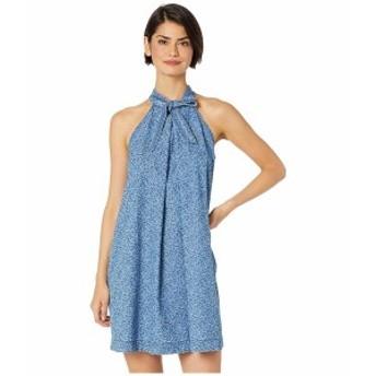 セセ レディース ワンピース トップス Sleeveless Printed Floral Denim Halter Neck Dress Indigo