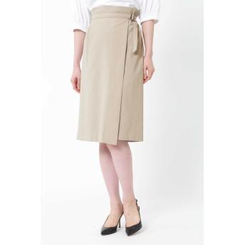 NATURAL BEAUTY 麻混アシンメトリーラップスカート ひざ丈スカート,ベージュ