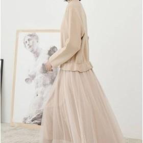 ミモレ丈 ワンピース 大きいサイズ ゆったり 長袖 春ワンピース 春 韓国 ファッション レディース 韓国 レディース ファッション ワンピ