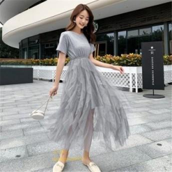 ワンピース 膝丈ワンピース レディース チュールスカート Tシャツセット 夏 カジュアル 半袖 韓国風