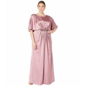 アドリアナ パペル レディース ワンピース トップス Plus Size Capelet Stretch Satin Gown with Beaded Trim Rose