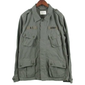 BRIGHT THINGS(ブライトシングス)エポーレット付ナイロンミリタリーシャツジャケット オリーブ